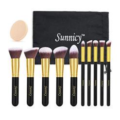 Kit de 10 pinceaux kabuki professionnels Sunnicy +Sac