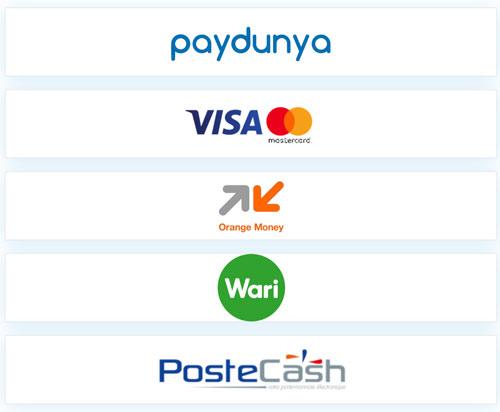 Paydunya propose le paiement par carte visa ou mastercard, par orange money, par wari, par postcash