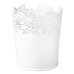 Pot de rangement blanc motif feuille Grand modèle