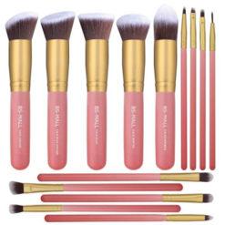 Set de 14 pinceaux kabuki pro rose gold teint & yeux BS 2