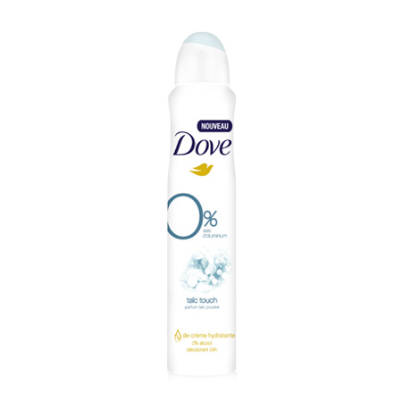 DOVE Déodorant spray Talc Touch 0% sels d'aluminium