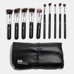 AOA Hi-DEF kit de 10 pinceaux noirs Kabuki professionnel + rangement