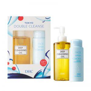 DHC Coffret Double Cleanse Huile Démaquillante + Poudre Nettoyante